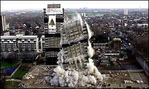 Blowdown of Nightingale towers